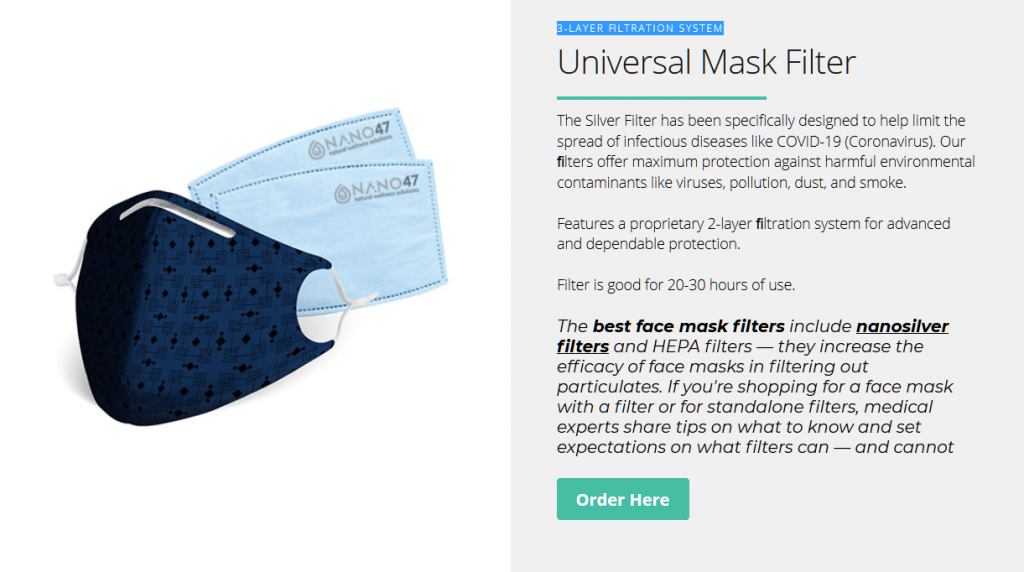 colloidal silver face mask with colloidal silver mask filters