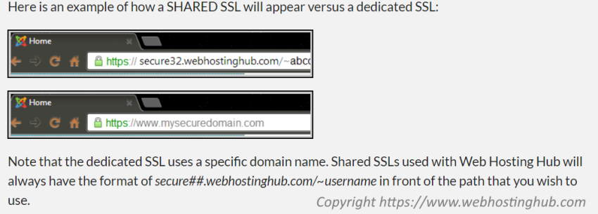 Image which explains the look of urls using web hosting with shared SSL.