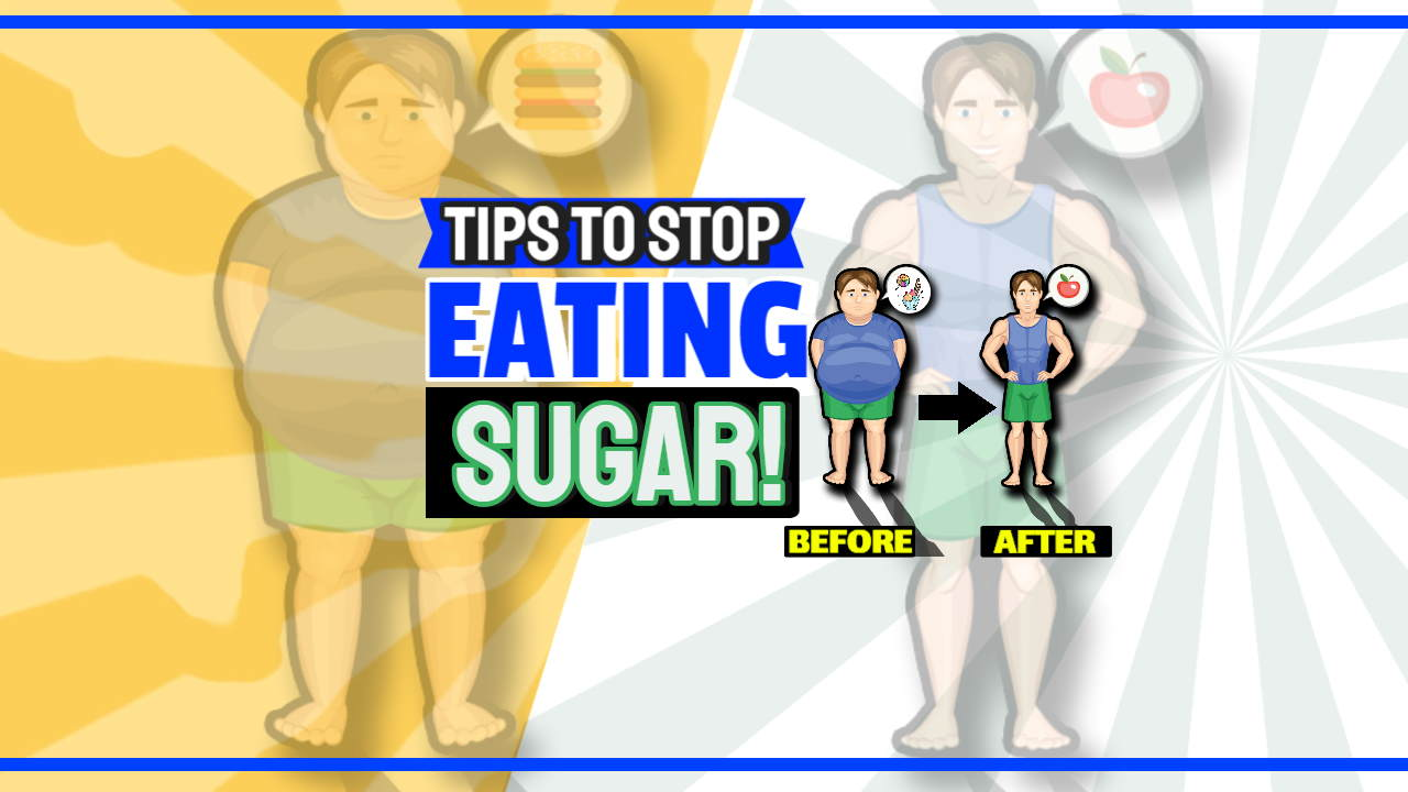"Image text: ""Tips to stop eating sugar""."